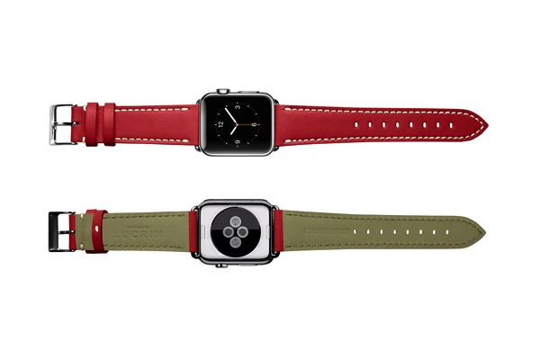 Apple watch band 38mm elegance red smooth leather