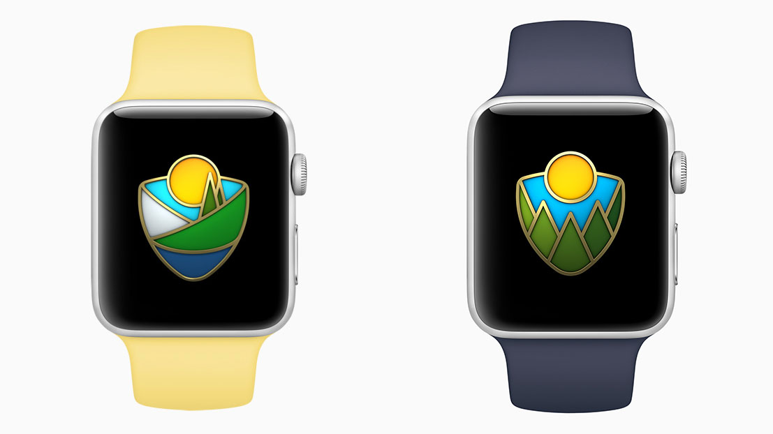 AppleWatch国立公園チャレンジ、2017年と2018年のバッジデザインの違い