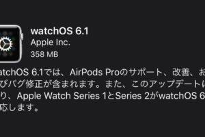 watchOS 6.1が公開!AirPods Proのサポートや、Series1・2のwatchOS 6対応を提供