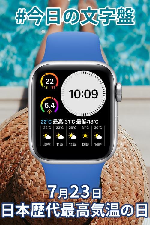 7月23日「日本歴代最高気温の日」のApple Watch文字盤